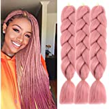 MSCHARM 5 Pcs Synthetic Fiber Braiding Hair Extensions Ombre Braiding Hair Extensions for Women Daily or Party Use 100g/Pcs 24 Inch(Red Pink)