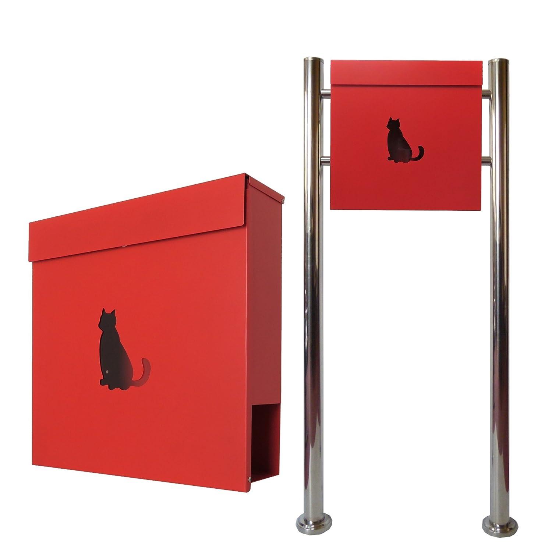 郵便ポスト郵便受けおしゃれかわいい人気北欧モダンデザインメールボックススタンド型マグネット付きレッド赤色ポストpm383s B07875YB9W