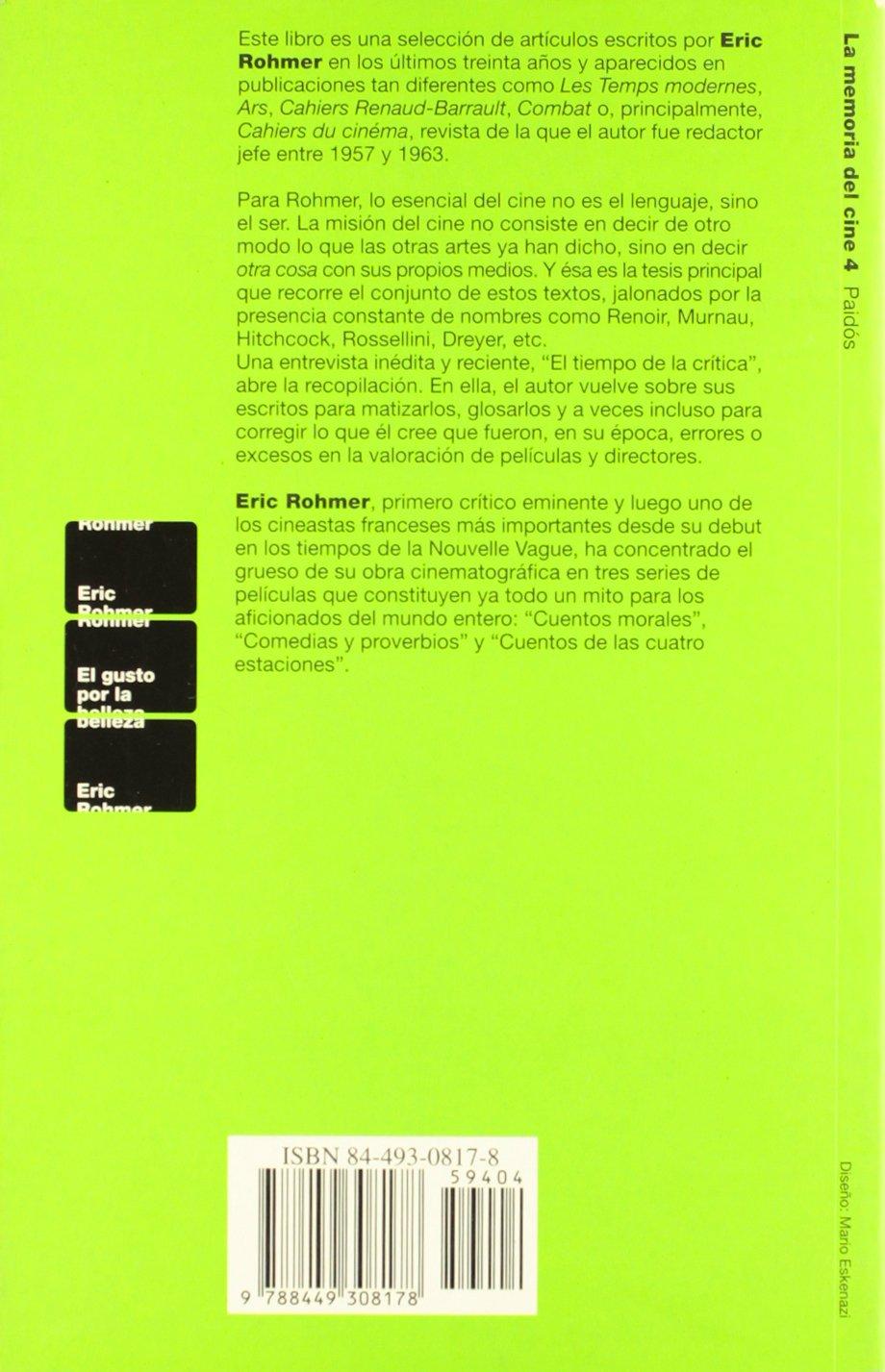 El gusto por la belleza / the Taste for Beauty (Spanish Edition): Eric Rohmer: 9788449308178: Amazon.com: Books