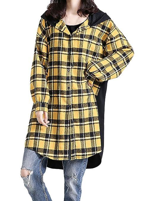 ... Vintage Cuadros Camisas Abrigos Encapuchado Manga Larga Carta Chic Estampadas Ocasional Fashion Anchos Outerwear Windbreaker Abrigos (Color : Amarillo, ...