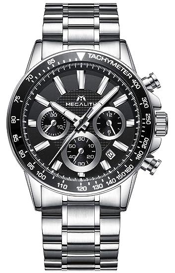 Relojes de Hombre Relojes de Pulsera Cronógrafo Deportivo Impermeable Lujo de Plata Acero Inoxidable Relojes Hombre Negocios Casuales Analogicos día ...