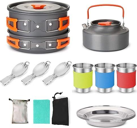 Lixada Camping Pan Pot Kit de Utensilios de Cocina Cuchara ...