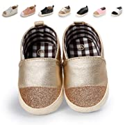 Meckior Infant Baby Girls Boys Sequin Shoes Soft Sole Toddler Slip-On Crib Glitter Moccasins Casual Sneaker Austin Boy's Flat Lazy Loafers First Walkers Shoe