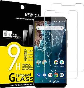 NEW'C 2 Unidades, Protector de Pantalla para Xiaomi Mi A2, Xiaomi Mi 6X, Antiarañazos, Antihuellas, Sin Burbujas, Dureza 9H, 0.33 mm Ultra Transparente, Vidrio Templado Ultra Resistente