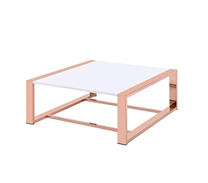 Acme Furniture 84480 Porviche Coffee Table, White High Gloss/Rose Gold