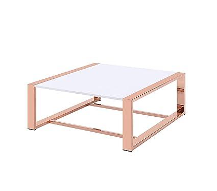 Amazoncom Acme Furniture 84480 Porviche Coffee Table White High