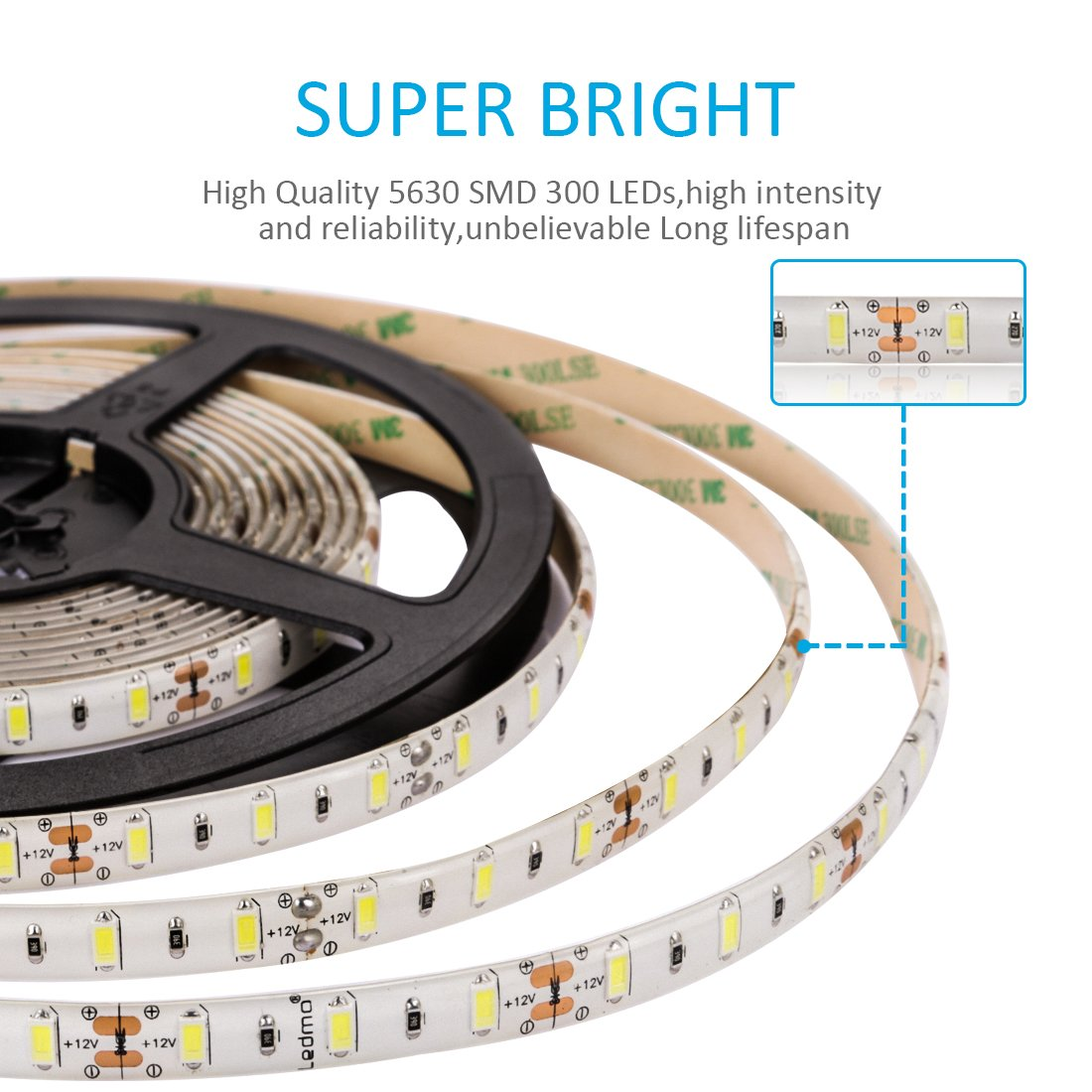 LED Strip Lights, SMD5630 Super Bright 6000K Tape Lighting 300 Units, 12V DC Waterproof, Light Strips, LED ribbon, DIY Christmas Holiday Home Kitchen Car Bar Indoor Party Decoration (Daylight White)