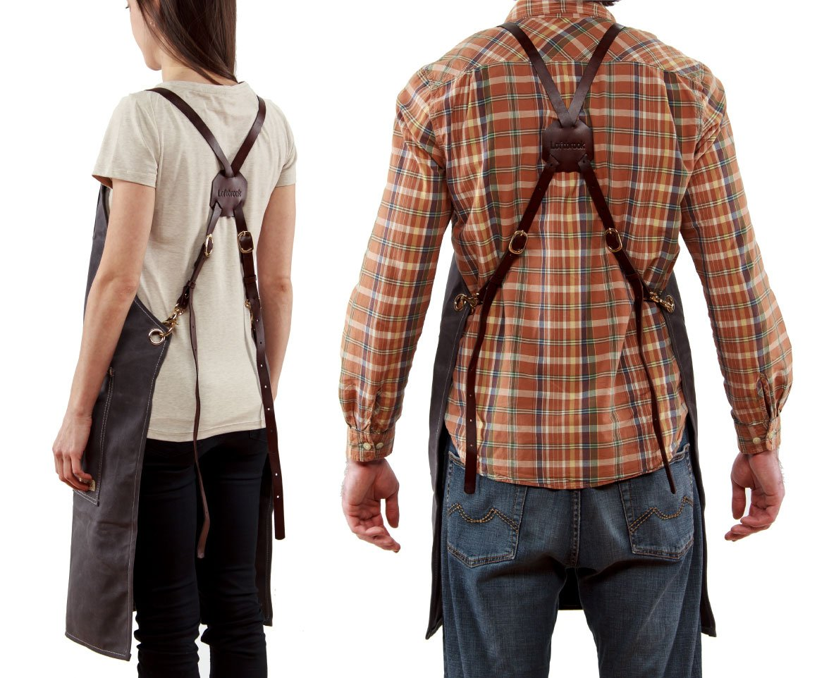 Versatile Waxed Canvas Heavy Duty Unisex Work Apron with Genuine Leather Adjustable Cross-Back Straps up to XXL | Loftbrook Aprons