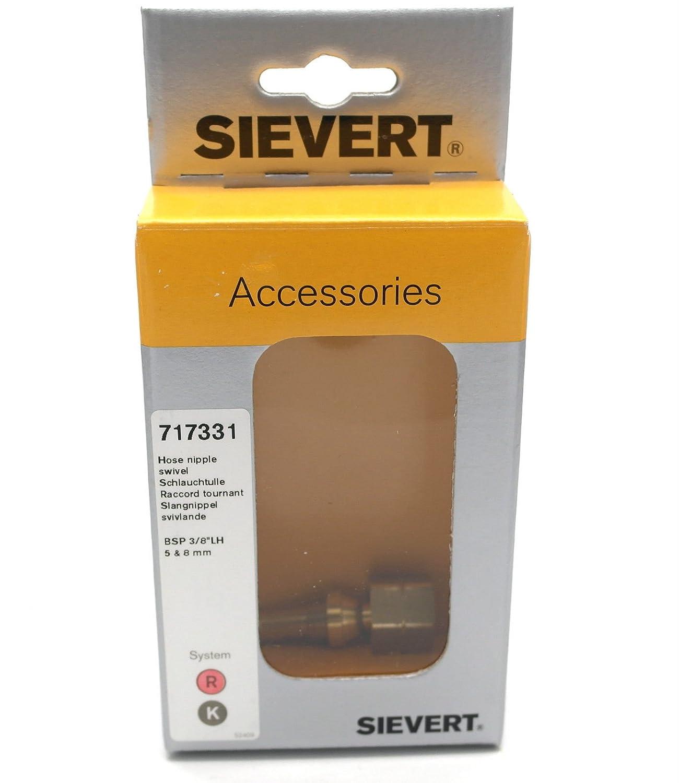 Sievert 717331 3//8 Bsp Left Hand Thread Swivel Hose Nipple to 5-8mm Hose