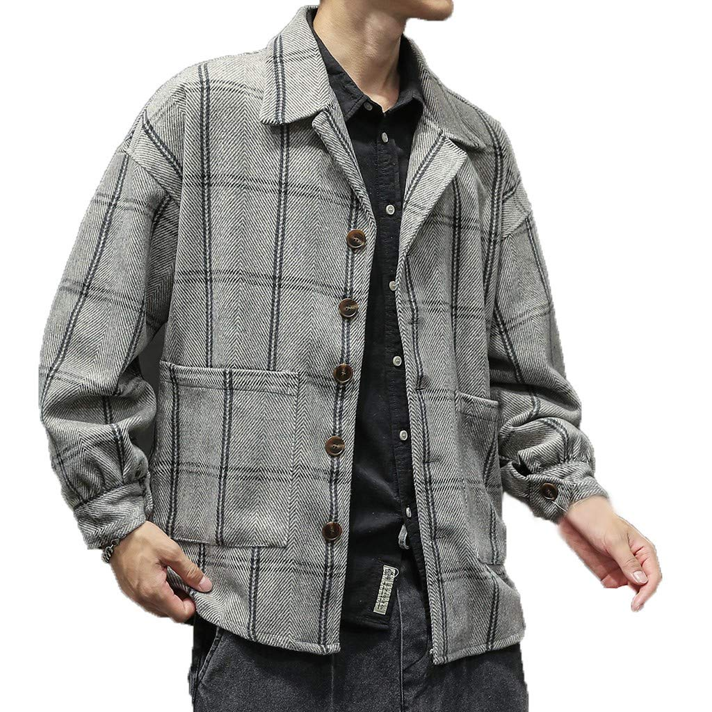 Pervobs Men's Autumn Retro Checked Coat Loose Soft Fabric Button Down Sweater Coat Outerwear with Pockets(M, Gray) by Pervobs Men Coat&Jacket