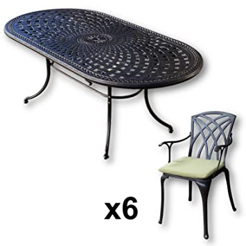 Lazy Susan - Table ovale 210 x 105 cm CATHERINE et 6 chaises de ...