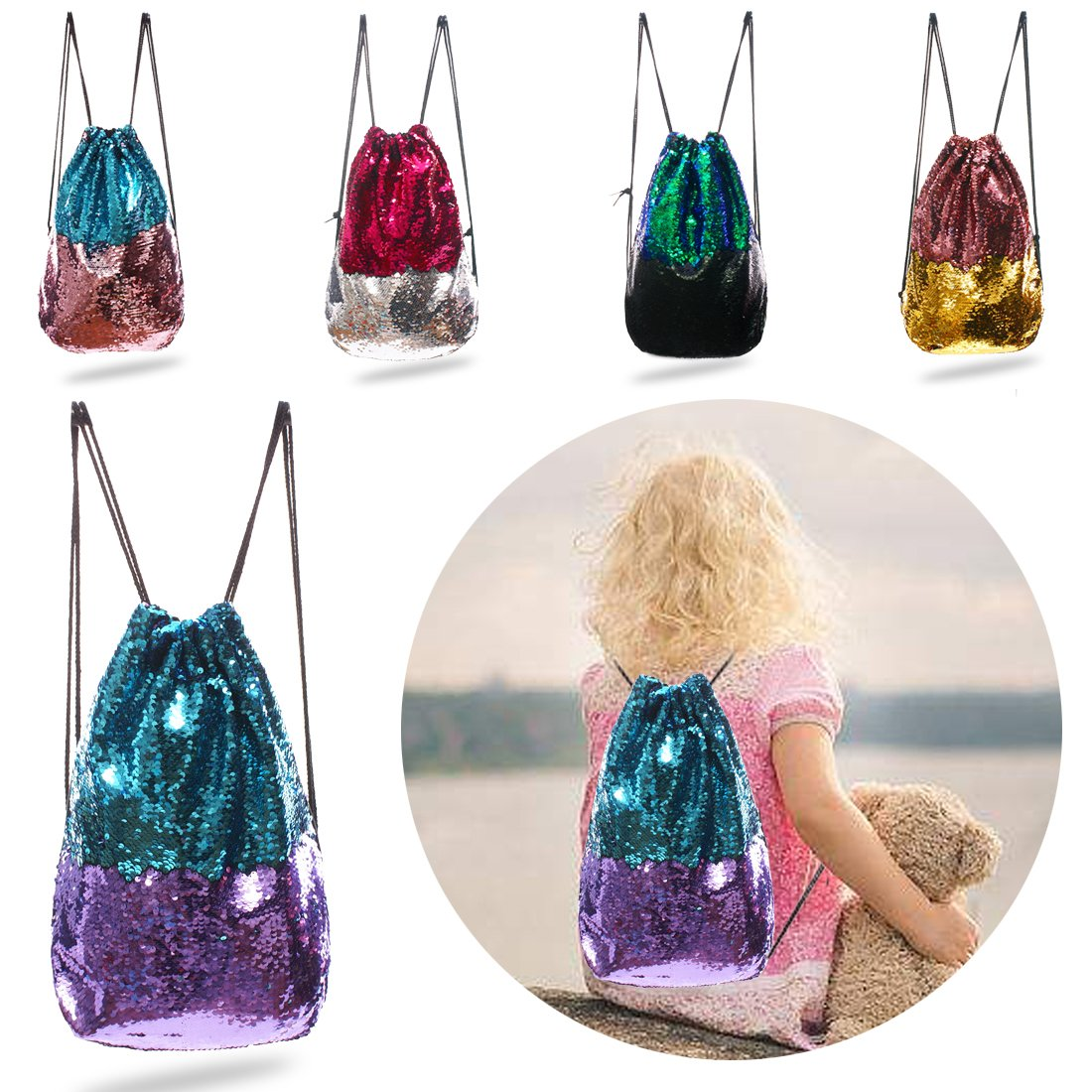 Magic Mermaid Reversible Sequin Adjustable Drawstring Backpack/Bag with Soft Velvet Backside&Pocket Inside; Stainless Strap Cap Blue/Purple for Kids Girls Adult Women; Perfect Gift Idea