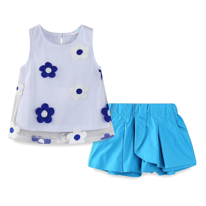 Mud Kingdom Toddler Girl Boutique Clothes Sets Summer 4T Sunflower Blue