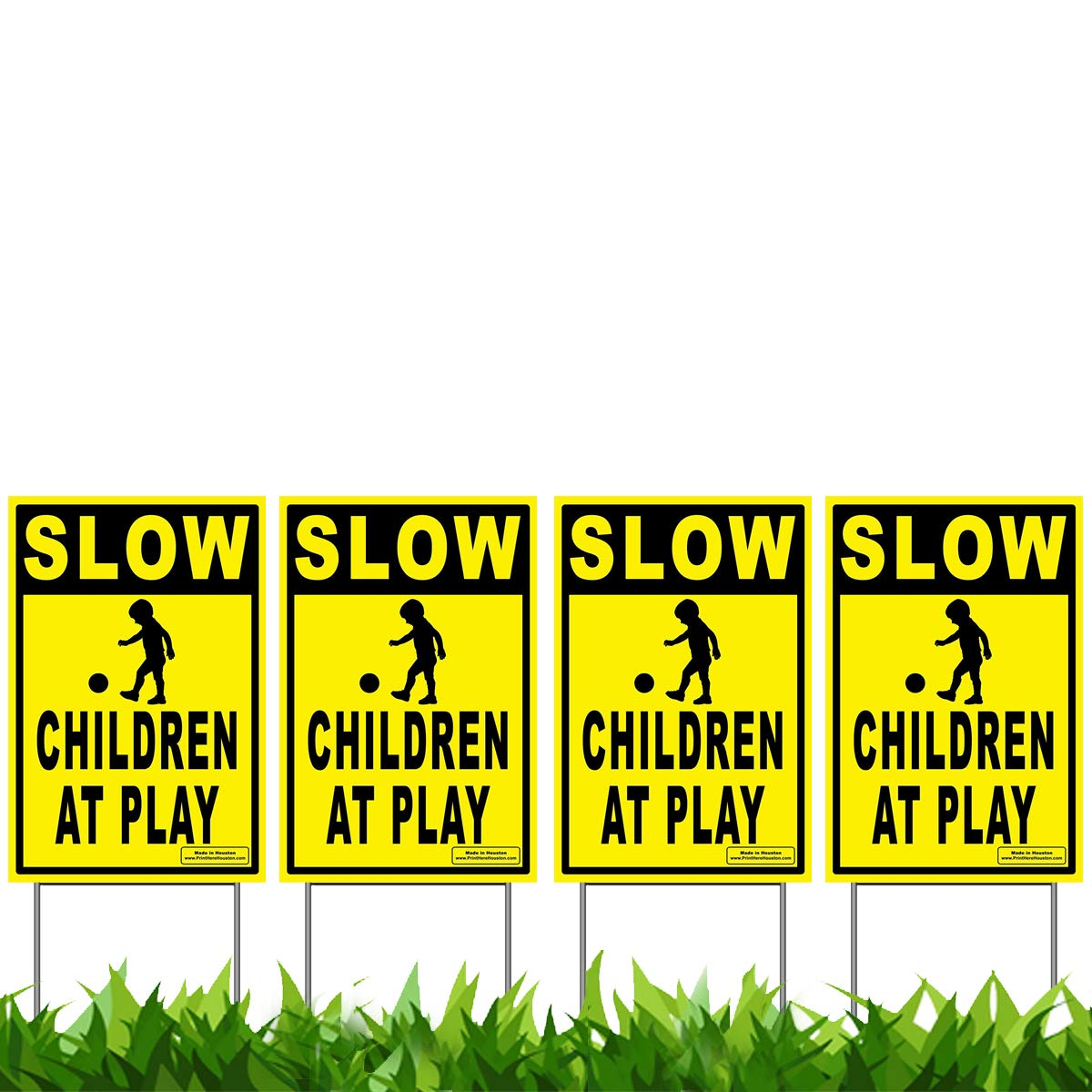 Vibe Ink 12'' x 18'' Slow - Children at Play 4-Pack Caution Yard Signs - Lawn Sign w/Metal Stakes