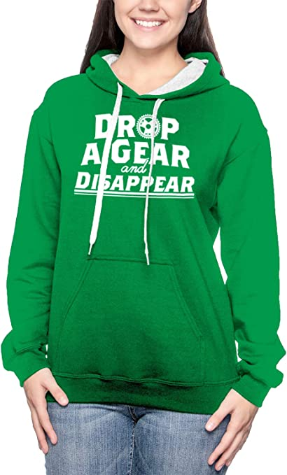 Drop A Gear and Disappear Mens Full-Zip Up Hoodie Jacket Pullover Sweatshirt