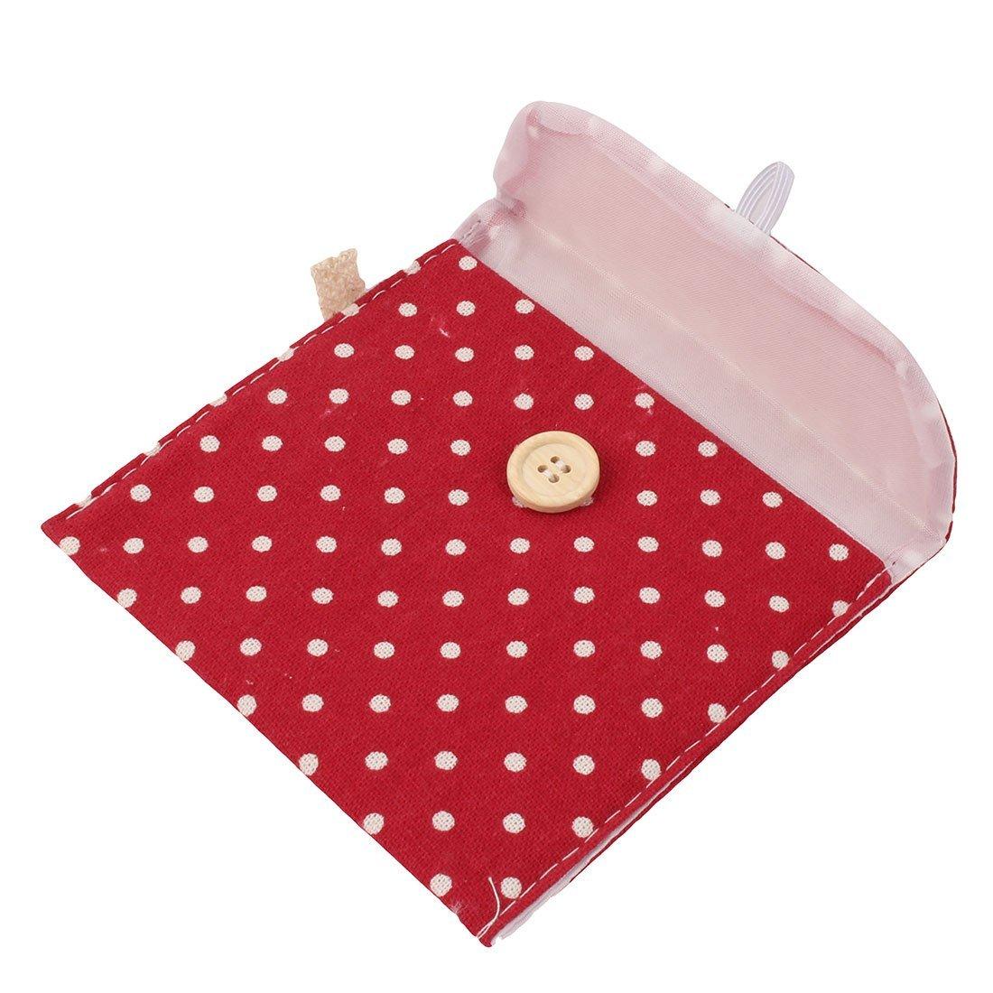Amazon.com: eDealMax de lino de las Mujeres del Modelo de Puntos del rectángulo botón de cierre Sanitaria Pad Titular Bolsa DE 3 PC Rojo: Home & Kitchen