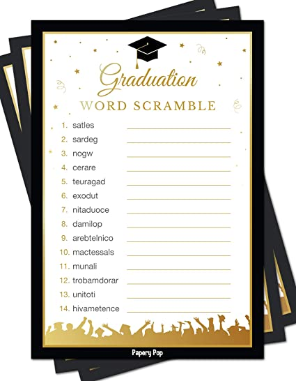 Amazon com: 2019 Graduation Party Word Scramble Game Cards