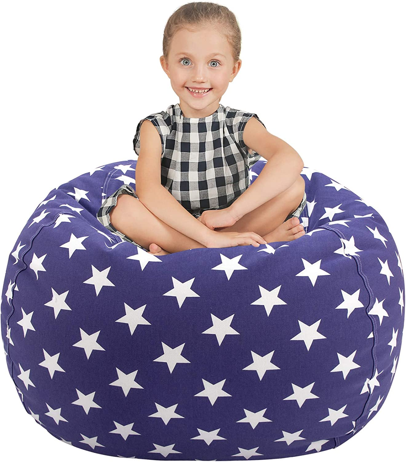 Aubliss Stuffed Animal Storage Bean Bag Chair Cover (No Beans),Stuff and Sit Storage Bean Bag for Kids Toy Storage, Large 38