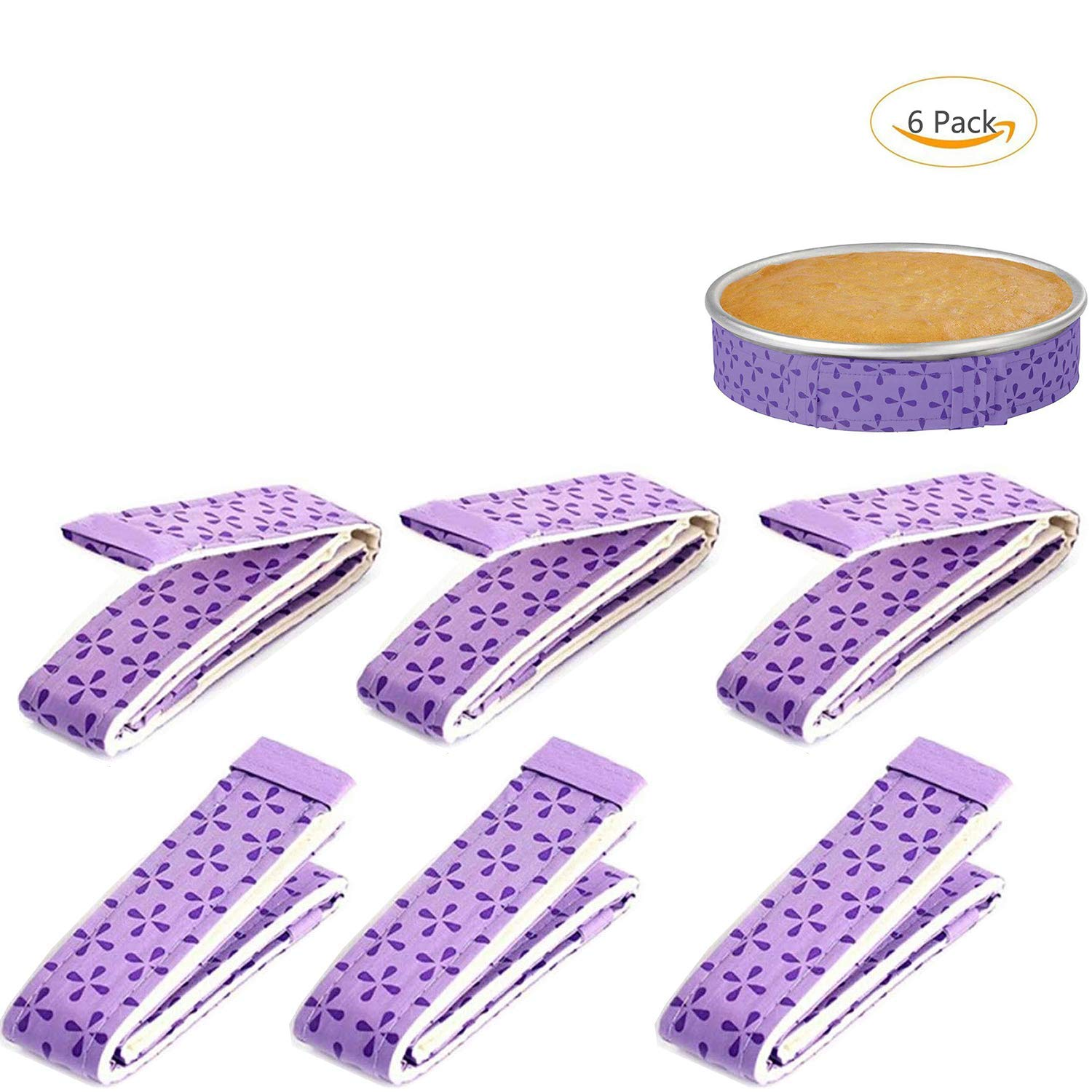 6-Piece Bake Even Strip,Cake Pan Strips,Super Absorbent Thick Cotton,Cake Strips for Baking,Cake Pan Strips