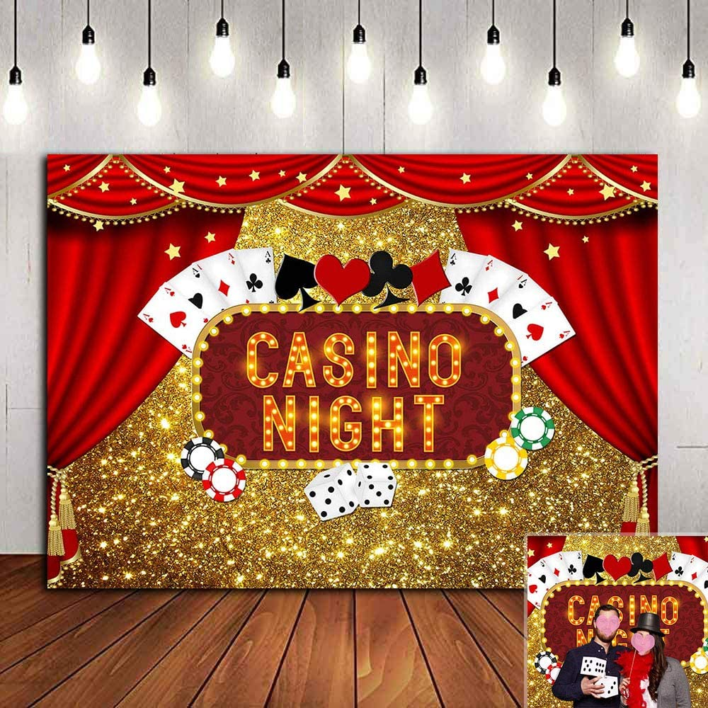Casino Night Poker Dice Red Curtains Photography Backdrop Vinyl Las Vegas Gold Glitter Bokeh Photo Background Birthday Party Banner Decorations Banner 7x5ft Photo Booths Studio Props Dessert Table