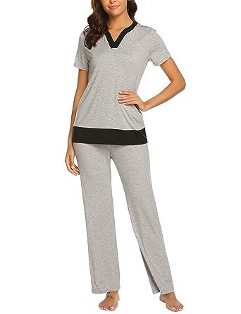 Ekouaer Womens Pajamas Soft Cute Sleepwear Top and Long Pants Sleepwear Pj Sets with Pockets