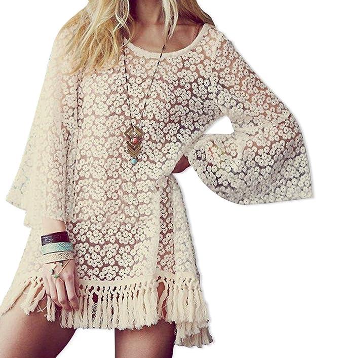 Imixcity Mujeres Camisa de Encaje Hippie Blusa Floral Crochet Tops Lace Shirt Fringe Festival Tassel Mini