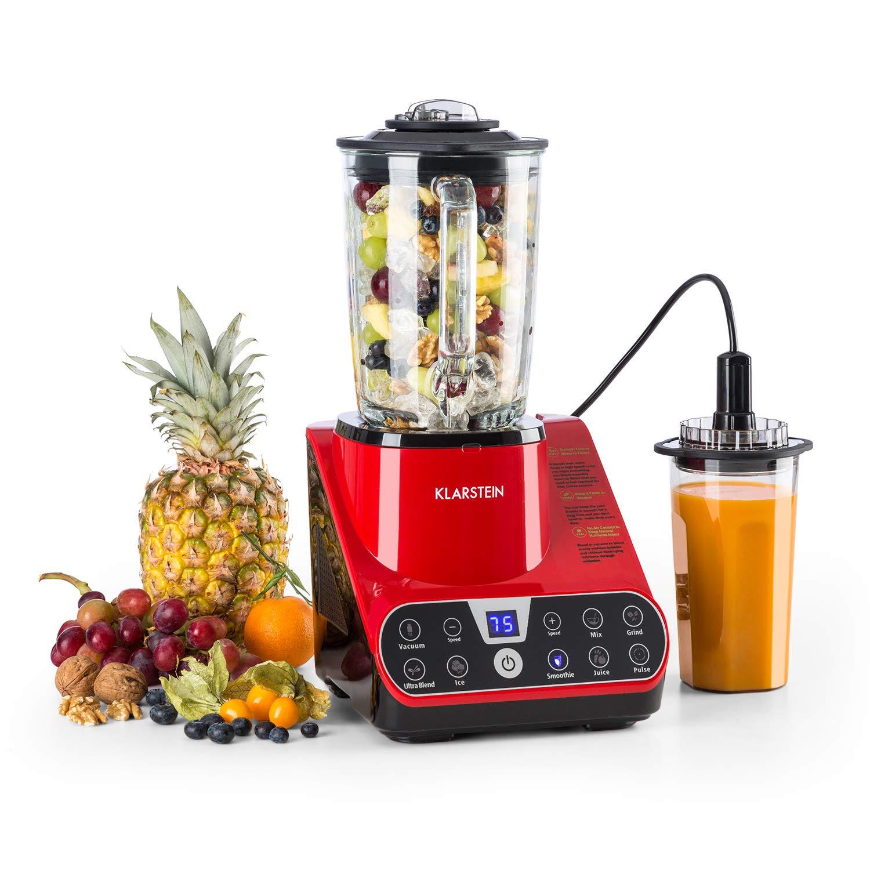 Klarstein Airakles Vacuum Blender • Blender • 1300W • 26000 RPM • 1.5 Liter Glass Jug• Vacuum Function • 7 Programs • 6 Power Levels • Pulse • Stainless Steel Mechanism • 6 Blades • Red