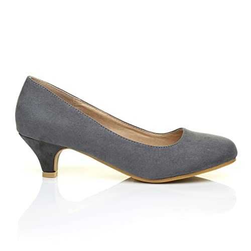 7714dfe0196b3 Charm Grey Faux Suede Low Heel Round Toe Comfort Court Shoes  Amazon.co.uk   Shoes   Bags