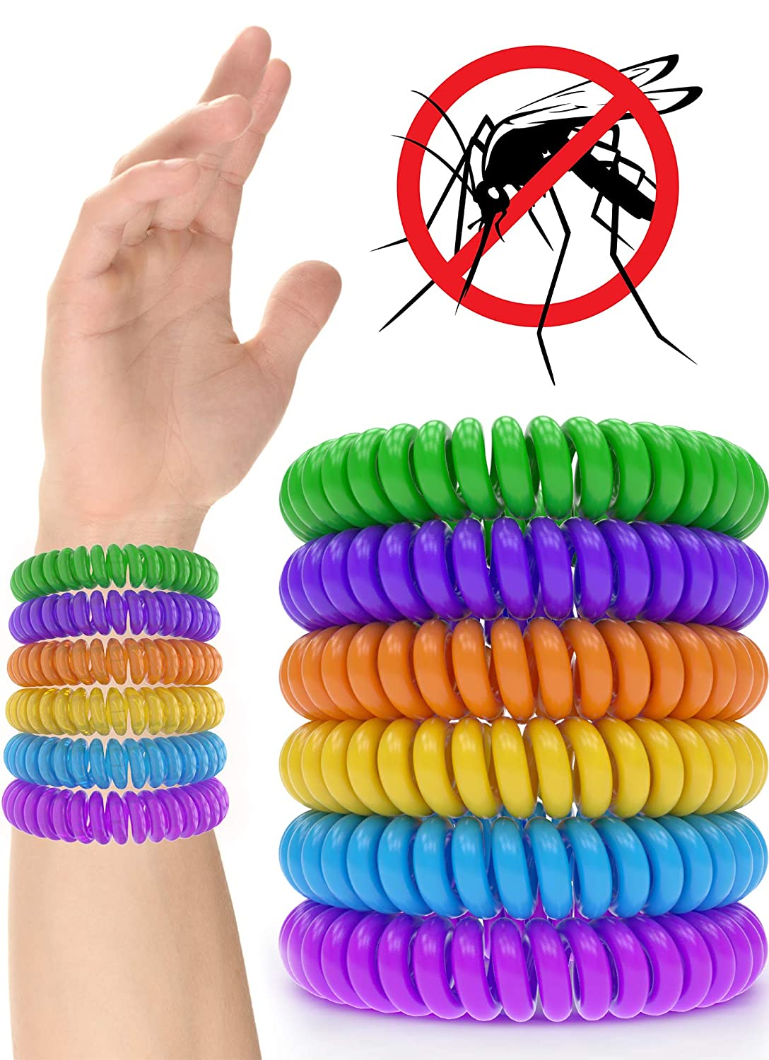 12 Pack Mosquito Repellent Bracelet Band - [320Hrs] of Premium Pest Control Insect Bug Repeller - Natural Indoor/Outdoor Insects - Best Products with NO Spray for Men, Women, Kids, Children iCooker 12-MOSQUITO-BAND