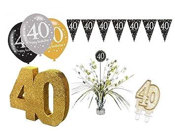 Party Deko Set 40 Geburtstag 9 Teilig Mann Frau Gold Amazon De