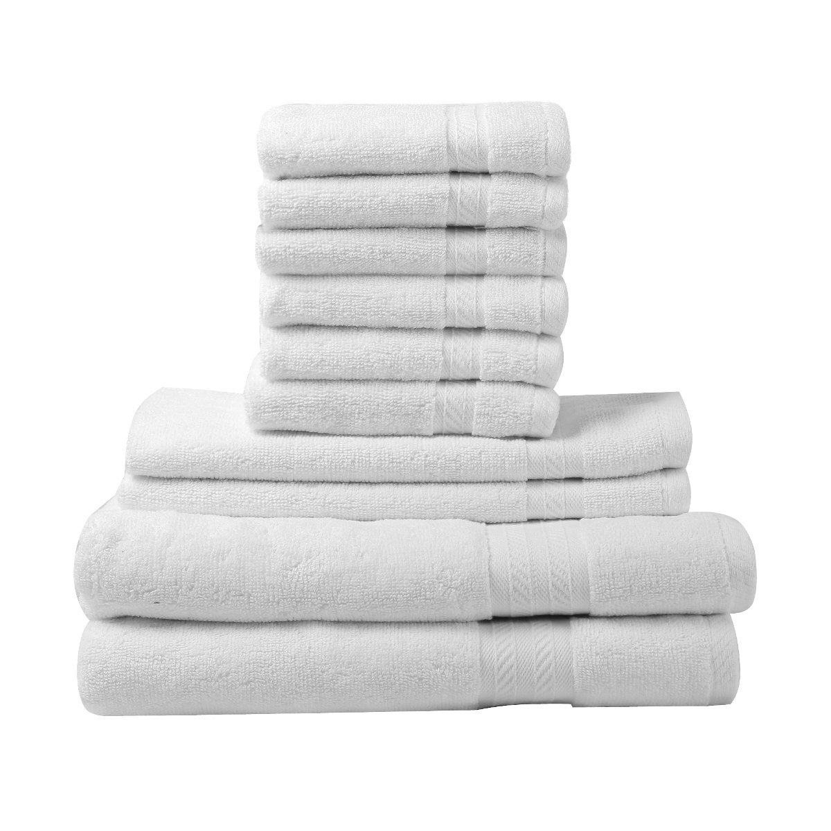 FreshFromLoom Premium Quality Ring Spun Cotton Towels Set, Super Soft, Plush, Machine Washable and Highly Absorbent Towels, Pack of 10 (2 Bath Towels, 2 Hand Towels, 6 Wash Clothes), White Fresh From Loom