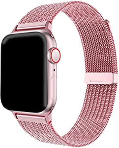 K-JAD Compatible Replacement for Apple Watch Band 38mm 40mm 42mm 44mm - Adjustable - Stainless Steel mesh Magnetic Wristband for Series 1,2,3,4,5 (Pink/Rose-Gold, 38mm)