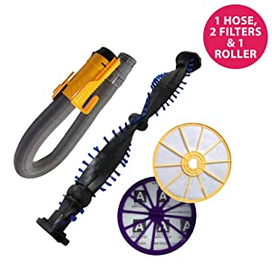 Think Crucial Replacement for Dyson DC07 Pre & Post Filters, Yellow Hose & Clutch Roller, Compatible with Part # 904125-14, 904174-01 & 901420-02