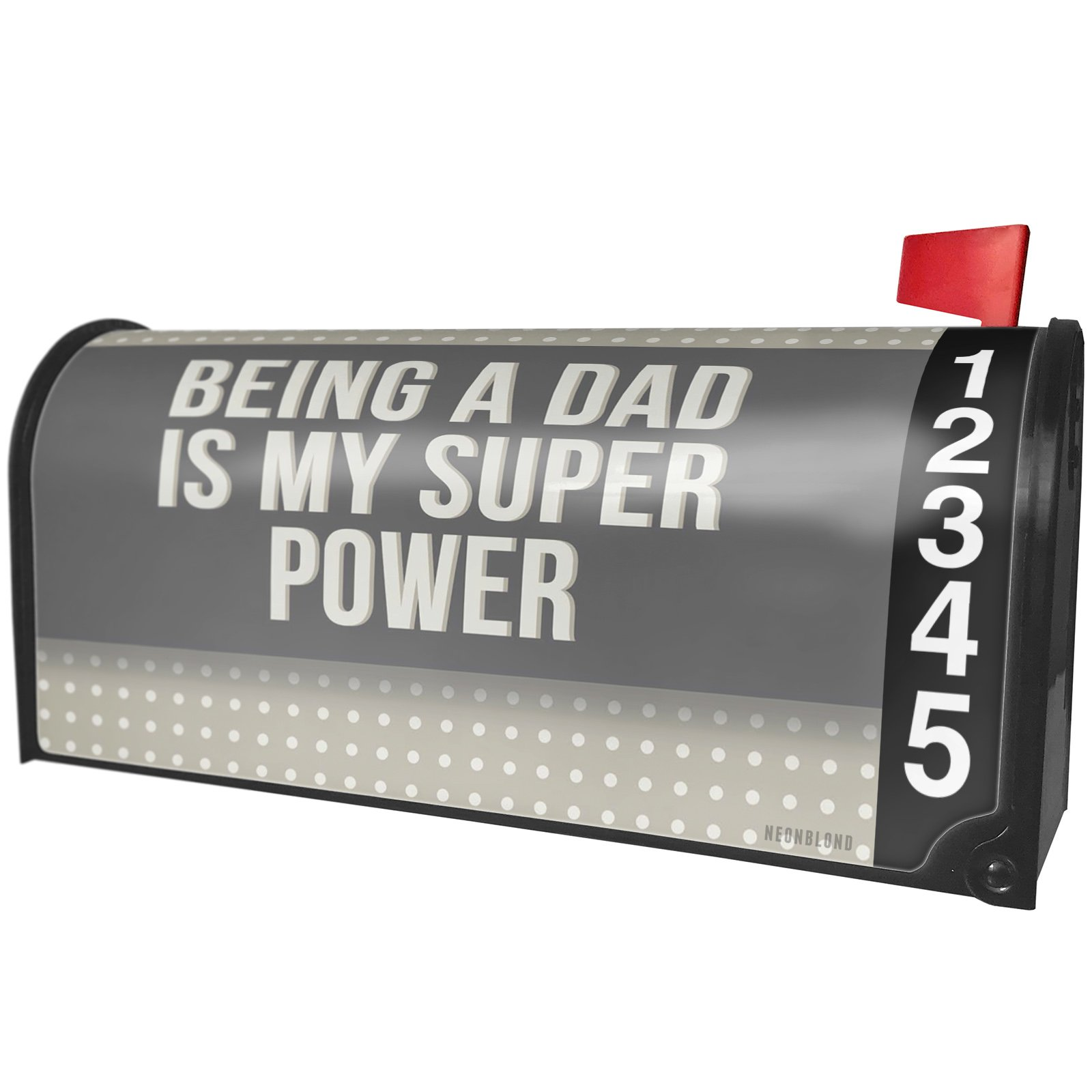 NEONBLOND Being a Dad is my Super Power Father's Day Neutral Grey Dots Magnetic Mailbox Cover Custom Numbers