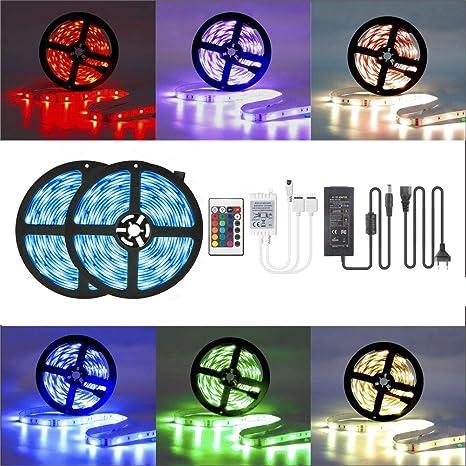 LED-Streifen-Set, LED Strip 10M RGB Licht Beleuchtung mit 300 LEDs, Komplettsets inkl Fernbedienung, Eckverbinder, Verbindung
