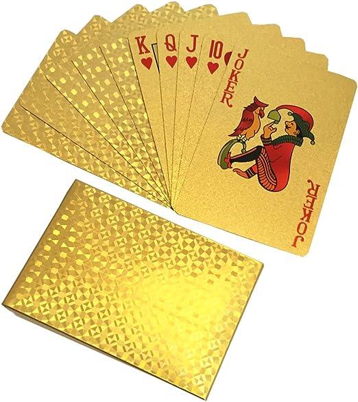 IBuyi Lujo Gold Foil Poker Deck Impermeable Plástico Classic Playing Cards Juego de Mesa Magic Tricks Poker (Gold): Amazon.es: Juguetes y juegos