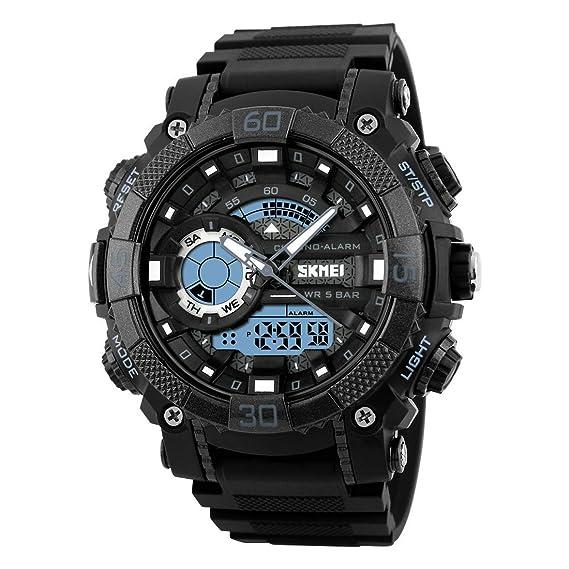 Reloj de pulsera analógico de cuarzo para hombre, digital, LED, resistente al agua, militar, con cronógrafo: Amazon.es: Relojes