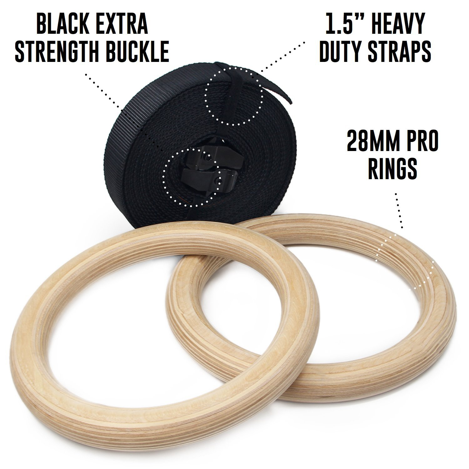 Intense Physical Training Equipment Emerge Wooden Olympic Gymnastics Rings Bodyweight Home Gym Training Set with Adjustable Straps for Core Strength Exercises Athletes Fitness Gear for A A