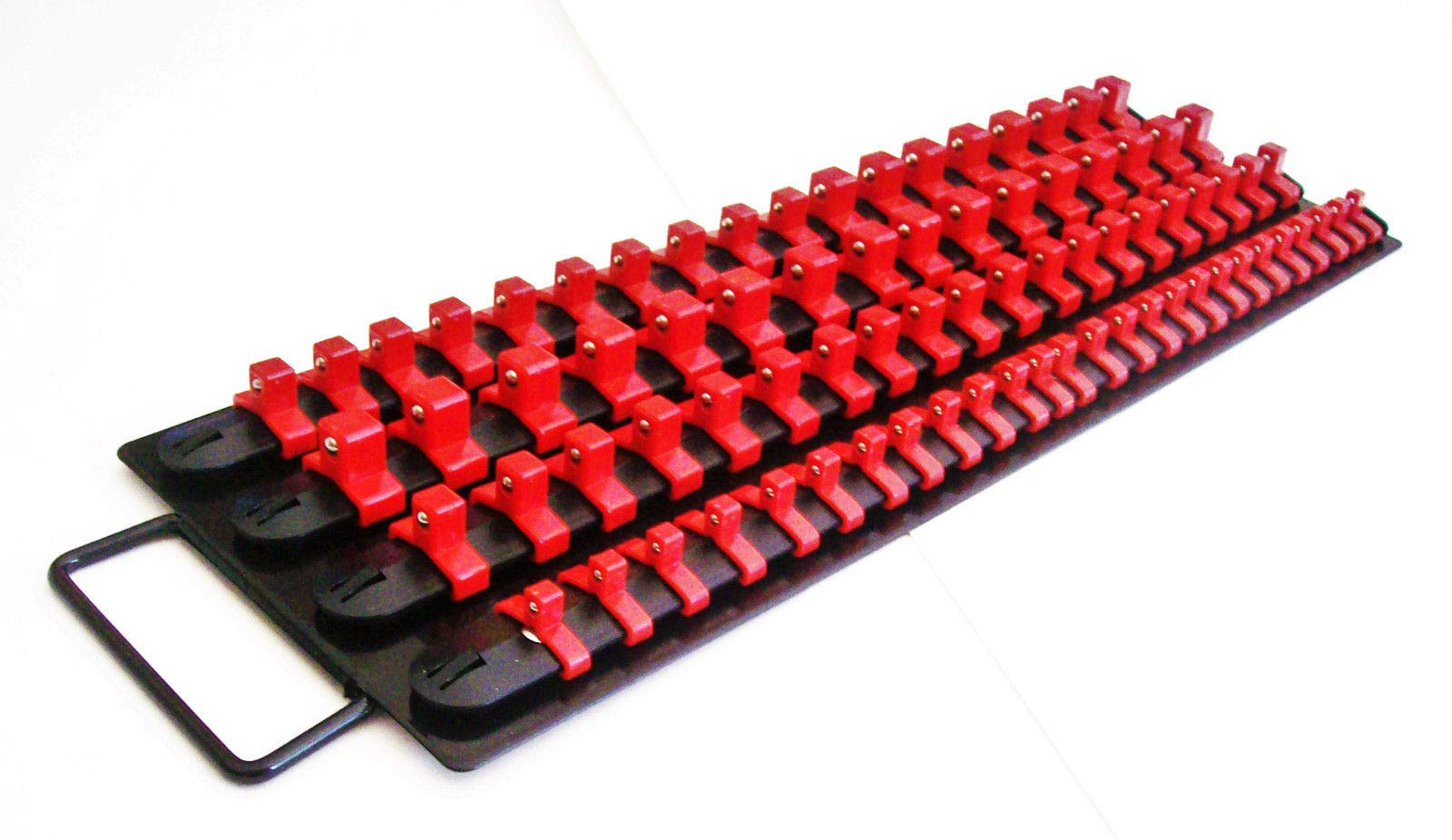 240pc SOCKET STORAGE TRAY RAIL RACK HOLDER SET 1/4 3/8 1/2 RED BLACK BLUE 17-1/2'' LONG 3 TOTAL TRAYS 6'' WIDE by shueysales (Image #5)