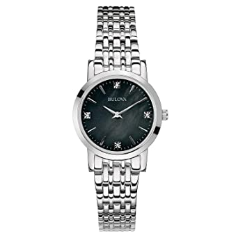 48b00faf8 Image Unavailable. Image not available for. Color: Bulova Women's 96P148  Diamond Gallery Analog Display Japanese Quartz ...