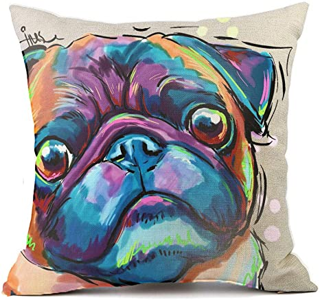 Amazon Com Redland Art Cute Pet Bulldog Dog Pattern Throw Pillow Covers Cotton Linen Cushion Cover Cases Pillowcases Sofa Home Decor 18 X 18 Inch 45cm Home Kitchen