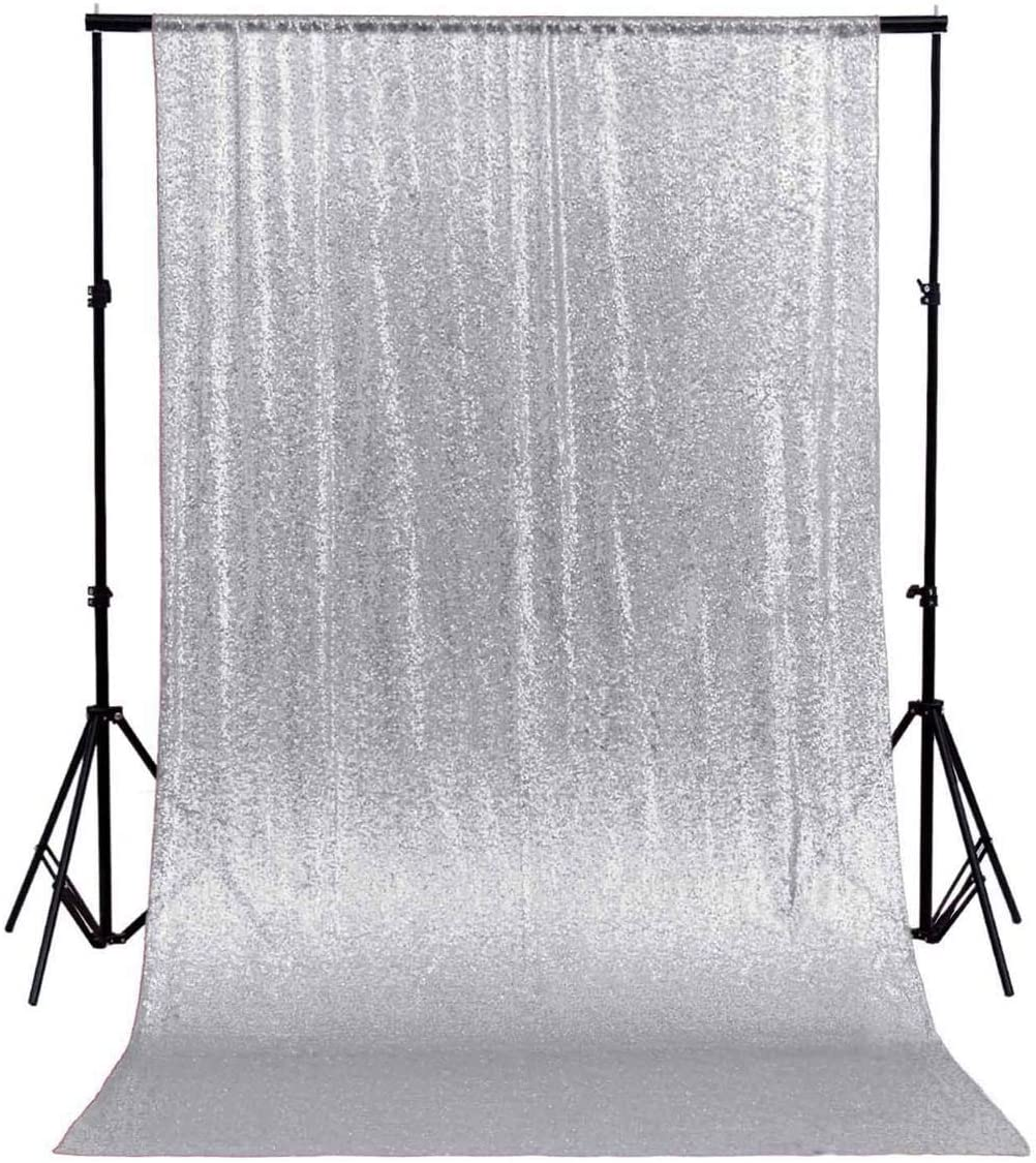 ShinyBeauty 10FTx10FT-Sequin Backdrop-White 120Inx120In Photography Background Sequin Fabric Photo Booth Backdrop Collapsible Video Studio Background Ideal for Curtain//Wedding//Other Event Decor