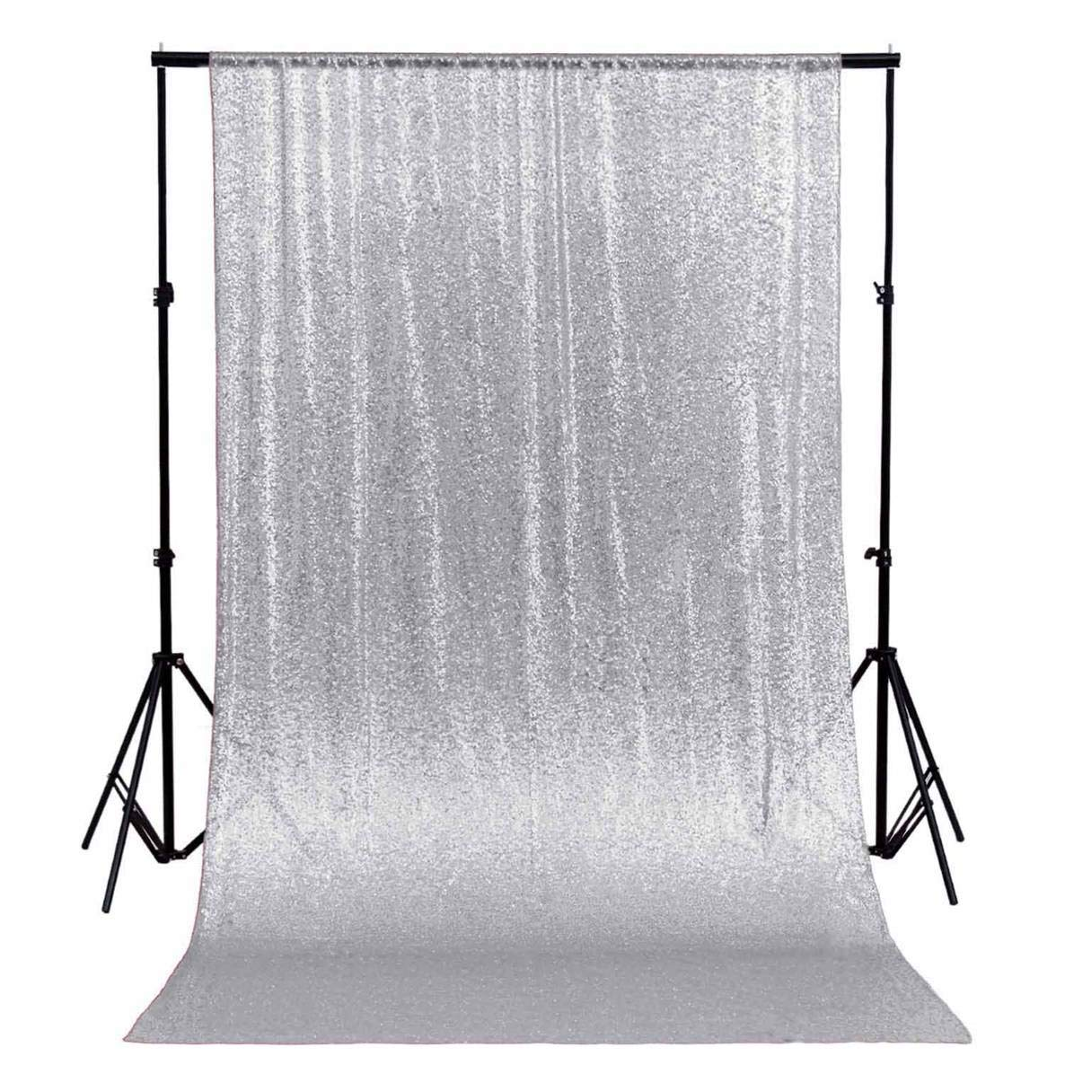 ShinyBeauty 8FTX8FT-Silver-Sequin Backdrop-Curtain, 96x96-Inch Premium Quality Glitz Booth Photograhy Backdrop for Christmas/Wedding Decor (Silver) by ShinyBeauty