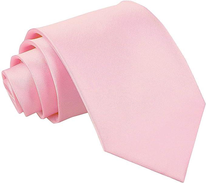 Nueva corbata de caballero lisa de satén DQT - Rosa Claro: Amazon ...