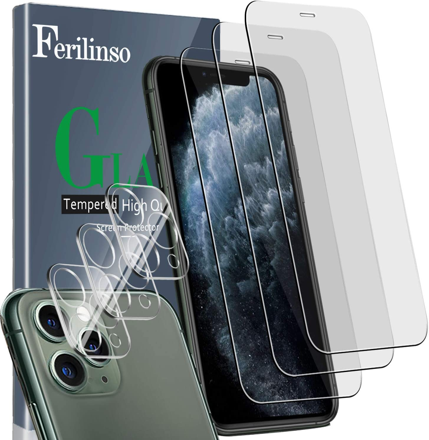 Ferilinso [6 Pack] 3 Pack Tempered Glass Screen Protector + 3 Pack Camera Lens Protector for iPhone 11 Pro Max (6.5''), HD Clarity 9H Glass Screen Protector