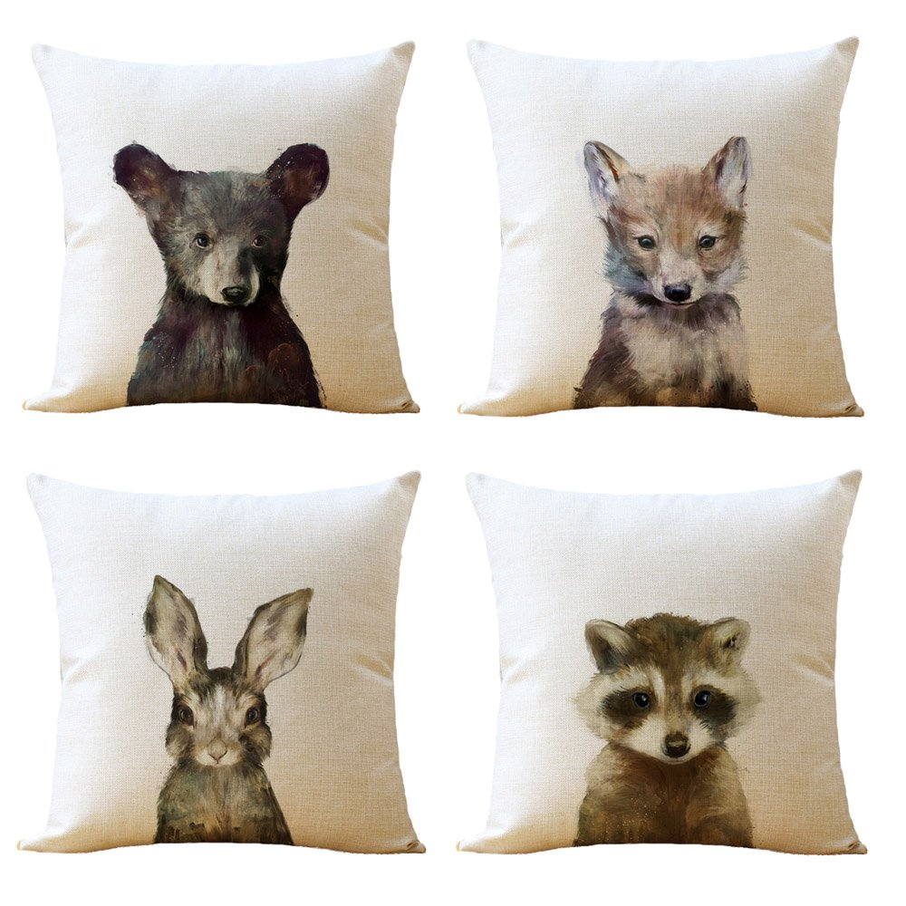 WOMHOPE 4 Pcs [Just Covers] - Animal Watercolor Patern Cotton Linen Pillow Covers Throw Covers Square Cushion Pillowcase Decorative Pillow Shams (Bear (Set of 4 pcs))