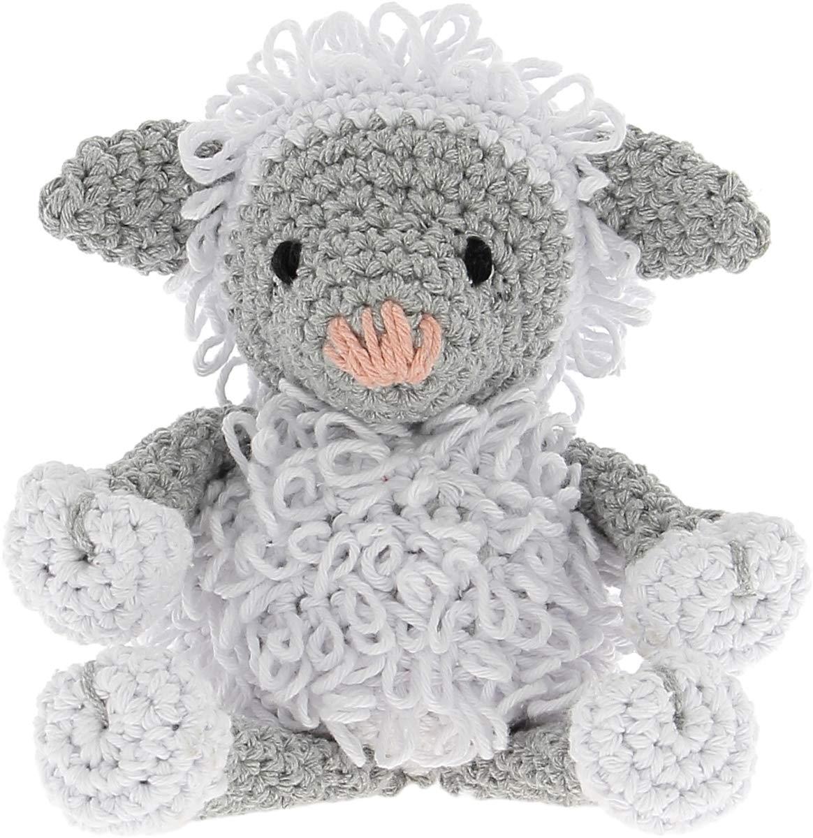 taille unique DMC Hoooked Agneau de kit Crochet Blanc//gris