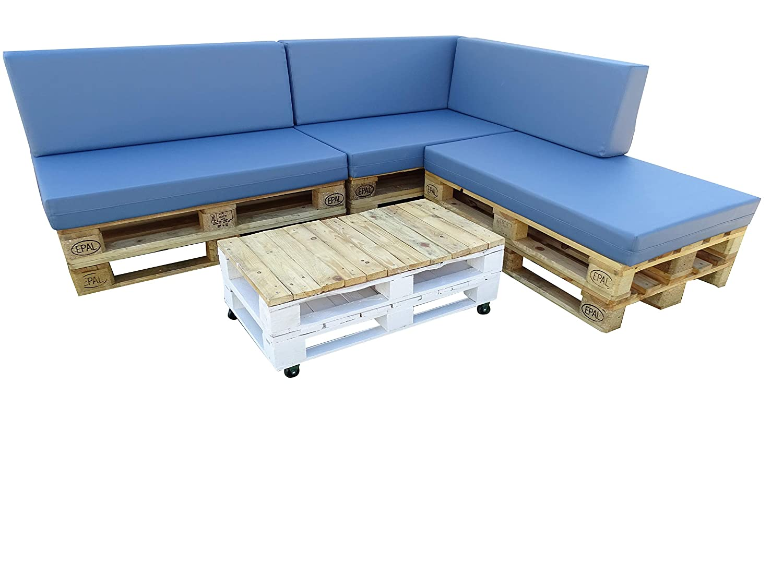 Dydaya Estructura de Sofa Hecha con Palets/Pallets Color Blanco con Respaldo para Interior & Exterior para Patio, Jardín Hecho con Palets de Madera - ...