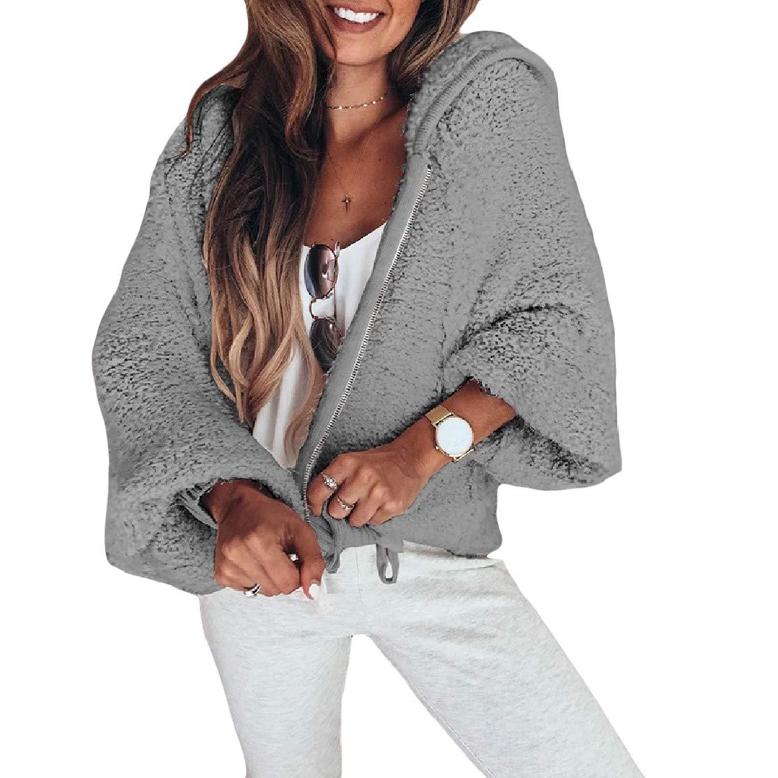 YUNY Womens Solid Velvet Hood Leisure Fashion Zip Open-Front Outwear Jacket Light Grey XS