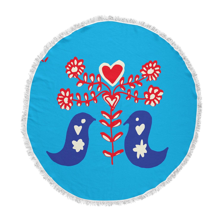 Kess InHouse bruxamagica Folk Bird Blue Red Animals Ethnic Illustration Mixed Media Round Beach Towel Blanket